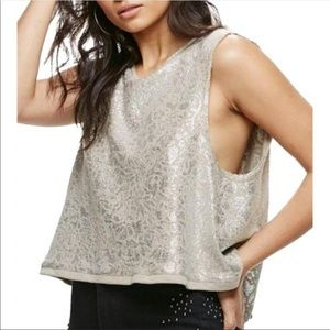 Xs Free People Silver Knit Button Back Crop fp